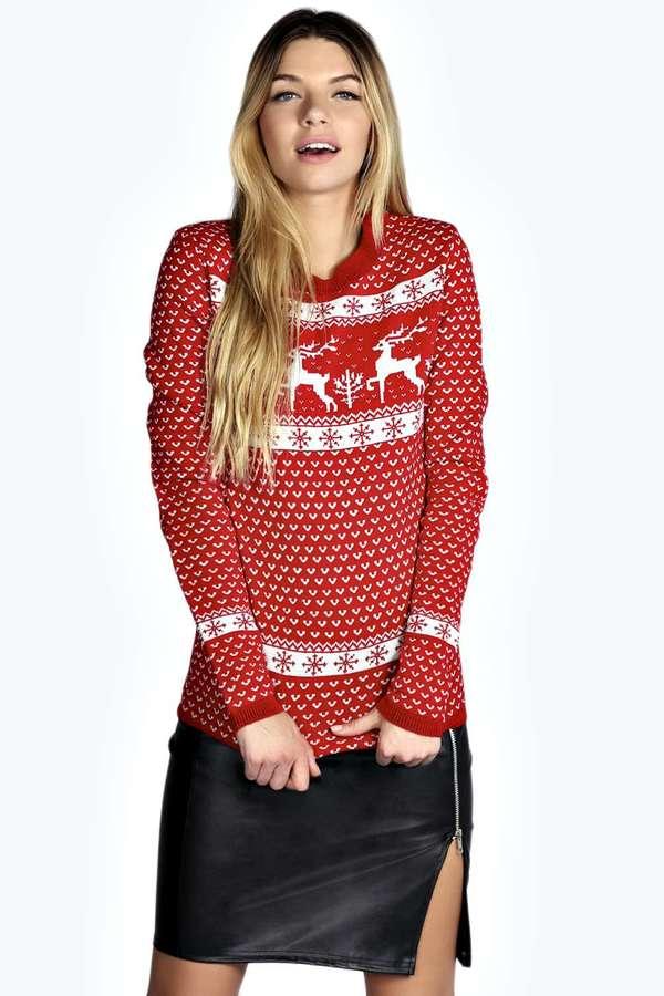 Boohoo Sophia Reindeer Christmas Jumper   Where to buy & how to wear