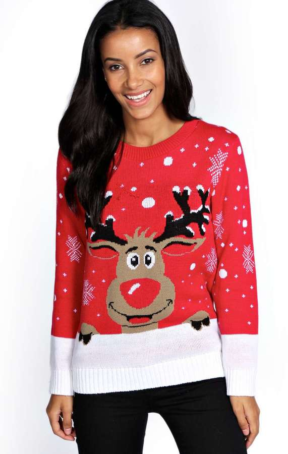 Boohoo Reiny Reindeer Christmas Jumper   Where to buy & how to wear