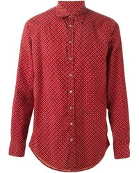 Red and White Floral Long Sleeve Shirt