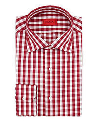 Red and White Gingham Long Sleeve Shirt