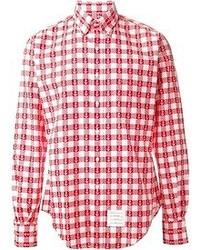 Anchor print gingham shirt medium 49184