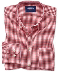 Charles Tyrwhitt Extra Slim Fit Button Down Non Iron Oxford Gingham Red Cotton Casual Shirt Single Cuff Size Large By