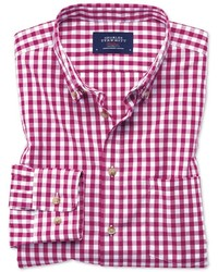 Charles Tyrwhitt Extra Slim Fit Button Down Non Iron Poplin Red Gingham Cotton Casual Shirt Single Cuff Size Large By