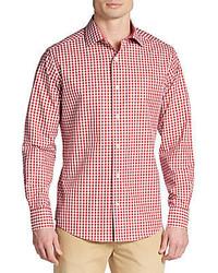 Slim fit gingham cotton sportshirt medium 378684