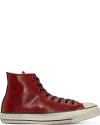 Converse by red leather chuck taylor high top sneakers medium 211758
