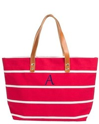 Cathy monogrammed red striped tote with leather handles cathys concepts medium 1252351
