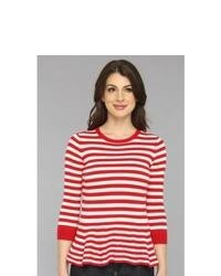 Red and White Horizontal Striped Crew-neck Sweater