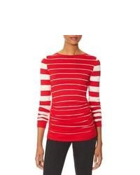 The Limited Striped Shirred Front Sweater Red M