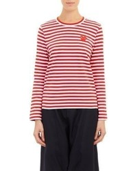 Red and White Horizontal Striped Long Sleeve T-shirt