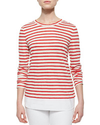 Tory Burch Striped Linen Jersey Tee Redwhitepink