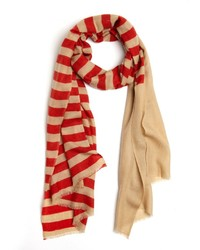 Red and White Horizontal Striped Shawl