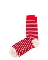 Red and White Horizontal Striped Socks