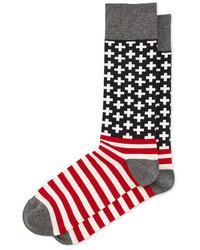 Jonathan Adler Cross Stripes Election Theme Socks Redgray