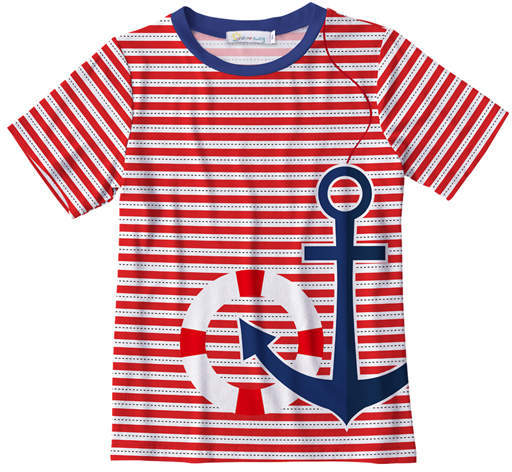 Red Stripe Anchor Crewneck Tee Toddler Boys