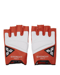 Givenchy Red And White Mezzi Moto Gloves