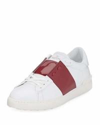 Valentino Garavani Leather Low Top Sneaker With Patent Stripe Blackgunmetal