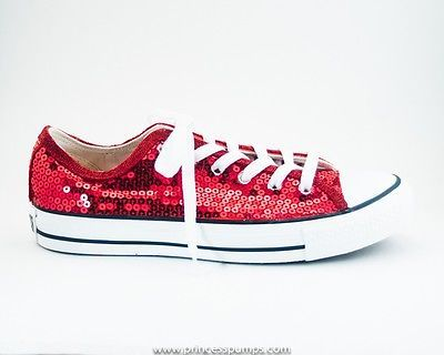 0d98e8d7043 ... Converse Red Sequin Low Top Ox Canvas All Star Sneaker Shoes ...