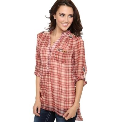 Deb plaid chiffon button down top with floral details for Red and white button down shirt