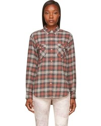 Etoile isabel marant isabel marant etoile red faded plaid flannel vadisse shirt medium 81006