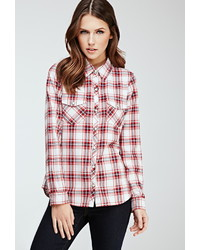Red and White Plaid Dress Shirt