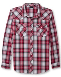 Red and White Plaid Long Sleeve Shirt | Men's Fashion