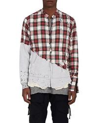 5050 distressed plaid flannel jersey shirt medium 6794107