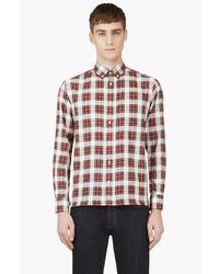 Maison kitsun red white plaid button down shirt medium 32591