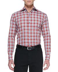 Ermenegildo Zegna Plaid Woven Long Sleeve Shirt Redgray