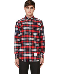Red black white plaid button down shirt medium 127686