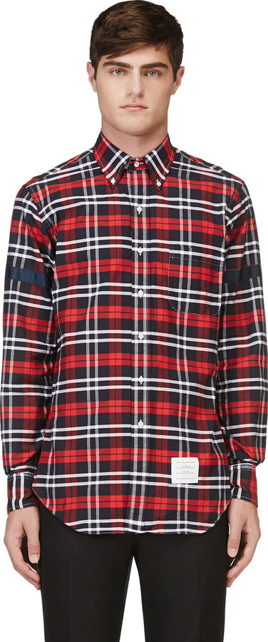 Thom Browne Red Black White Plaid Button Down Shirt | Where to buy ...
