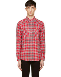 Red plaid s obba button up shirt medium 127684