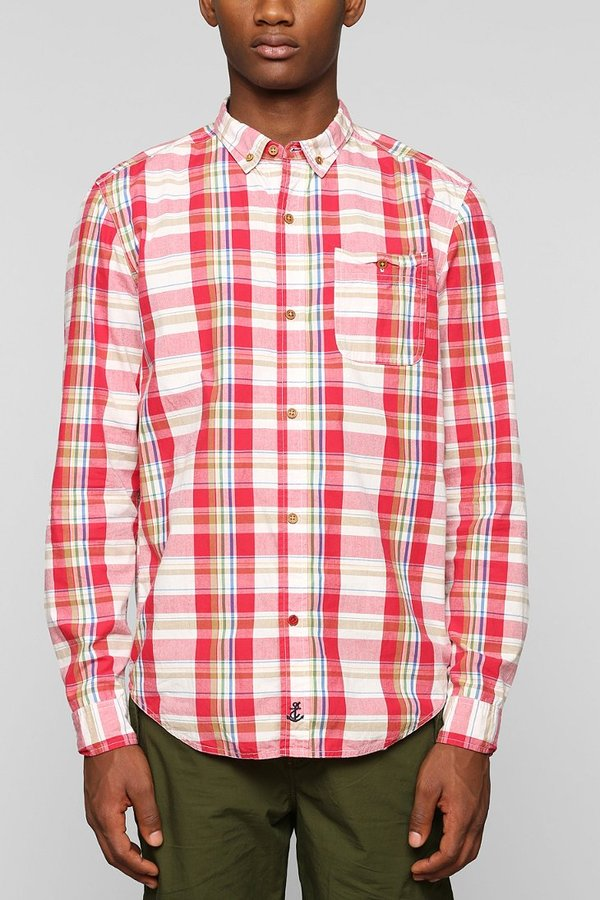 Urban outfitters cpo canyon plaid button down shirt for Red and white button down shirt