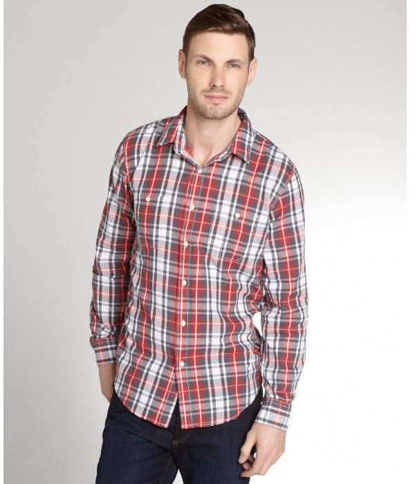 Just a cheap shirt red and black and white plaid cotton for Where to buy cheap plaid shirts