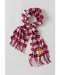 Lands' End Cashtouch Plaid Scarf Rich Red