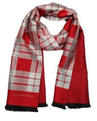 Red and silver plaid silk and wool scarf medium 318457