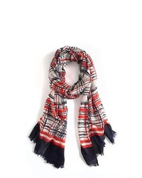 Tommy hilfiger graphic plaid scarf medium 118433