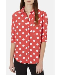 Red and White Polka Dot Dress Shirt