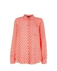 New Look Coral Polka Dot Long Sleeve Shirt