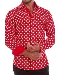 Suslo Couture Long Sleeve Polka Dot Slim Fit Shirt