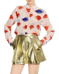 Red blue lips print chiffon blouse medium 315827