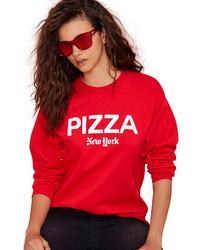 Pizza print loose red sweatshirt medium 173791