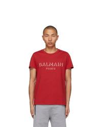 Balmain Red 3d Logo T Shirt