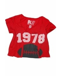 Rebel Yell 1978 Football Boyfriend Cropped Tee In Red