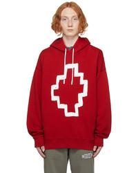 Marcelo Burlon County of Milan Red Tempera Cross Hoodie