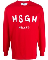 MSGM Paint Brushed Long Sleeved T Shirt