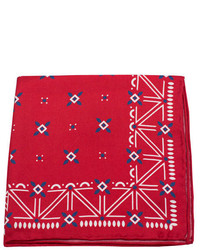 Red and White Print Pocket Square