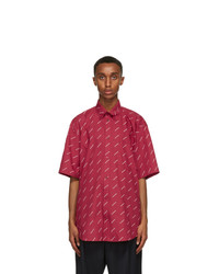 Balenciaga Red Logo Normal Fit Short Sleeve Shirt