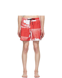DOUBLE RAINBOUU Red And White Uuaves Swim Shorts