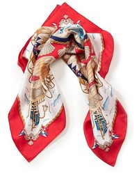 Red and White Silk Scarf