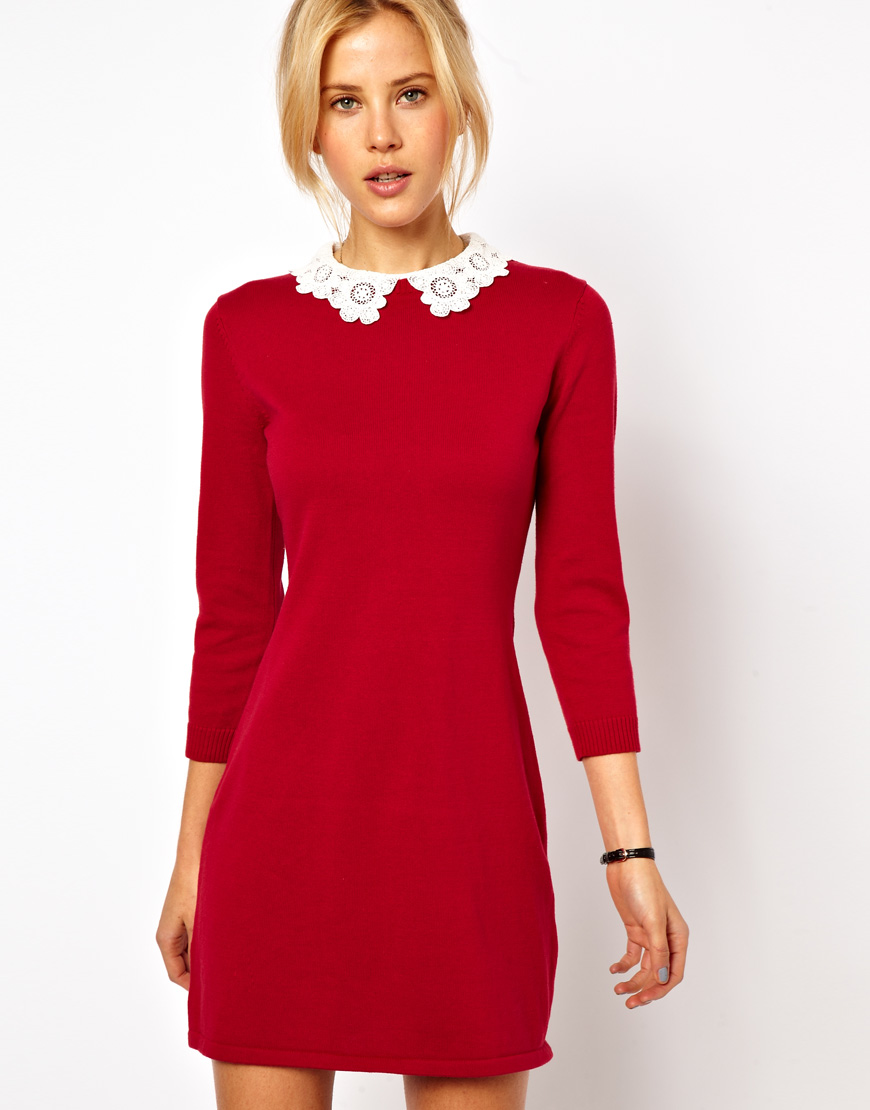 Asos Knit Dress With Lace Collar  Where to buy &amp how to wear